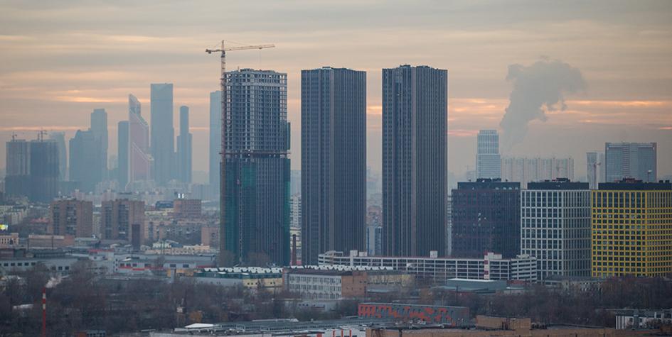 Вид на строящийся многофункциональный комплекс «Савеловский Сити»