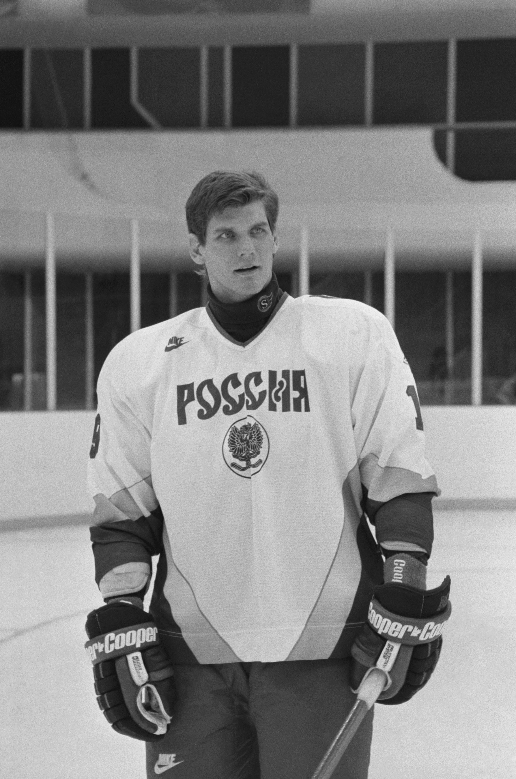 Алексей Яшин во время подготовки сборной России к Кубку мира 1996 года