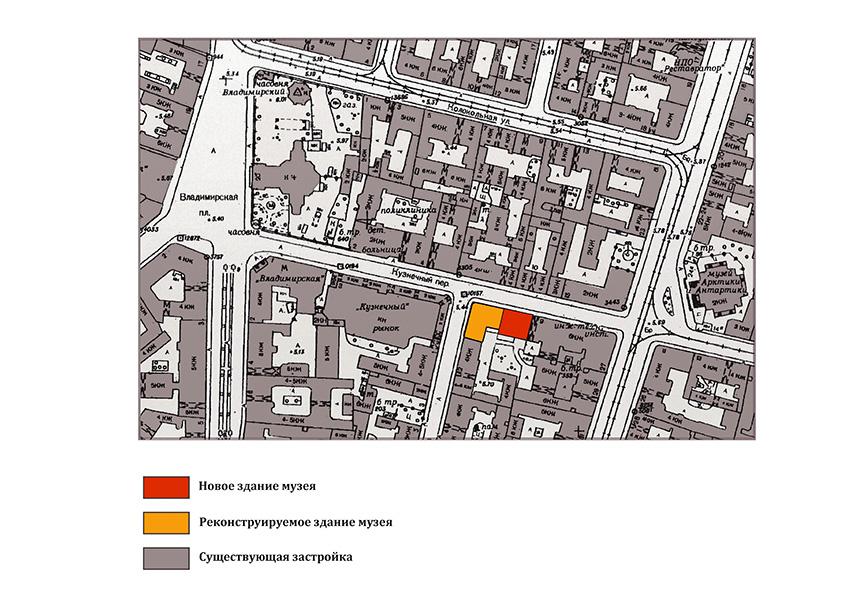 Схема расположения действующего музея и нового корпуса