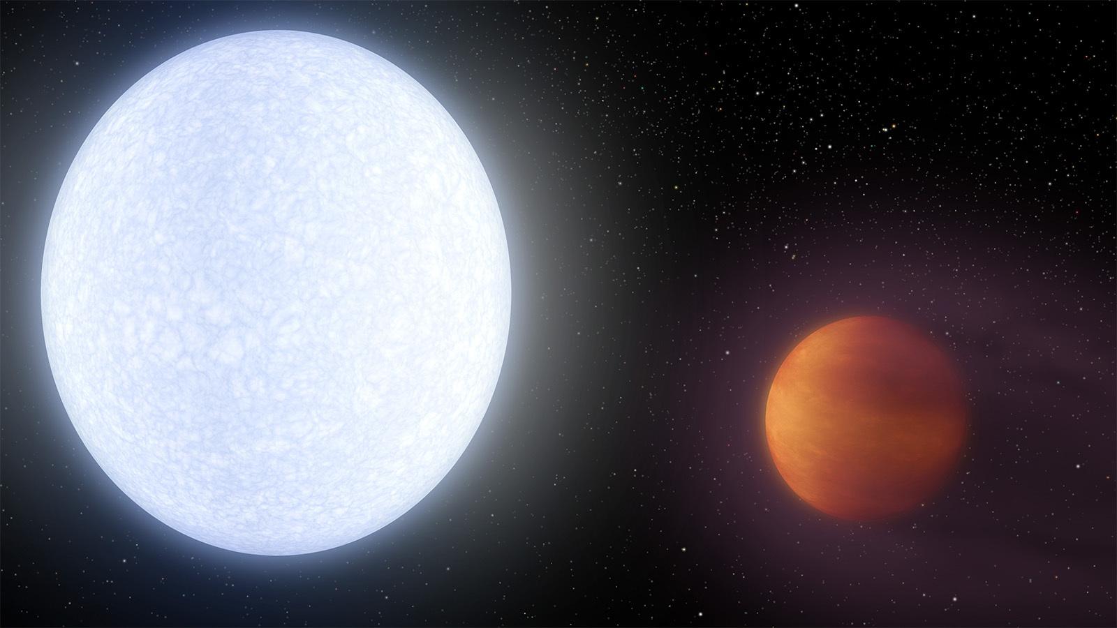 Экзопланета KELT-9 b (справа)