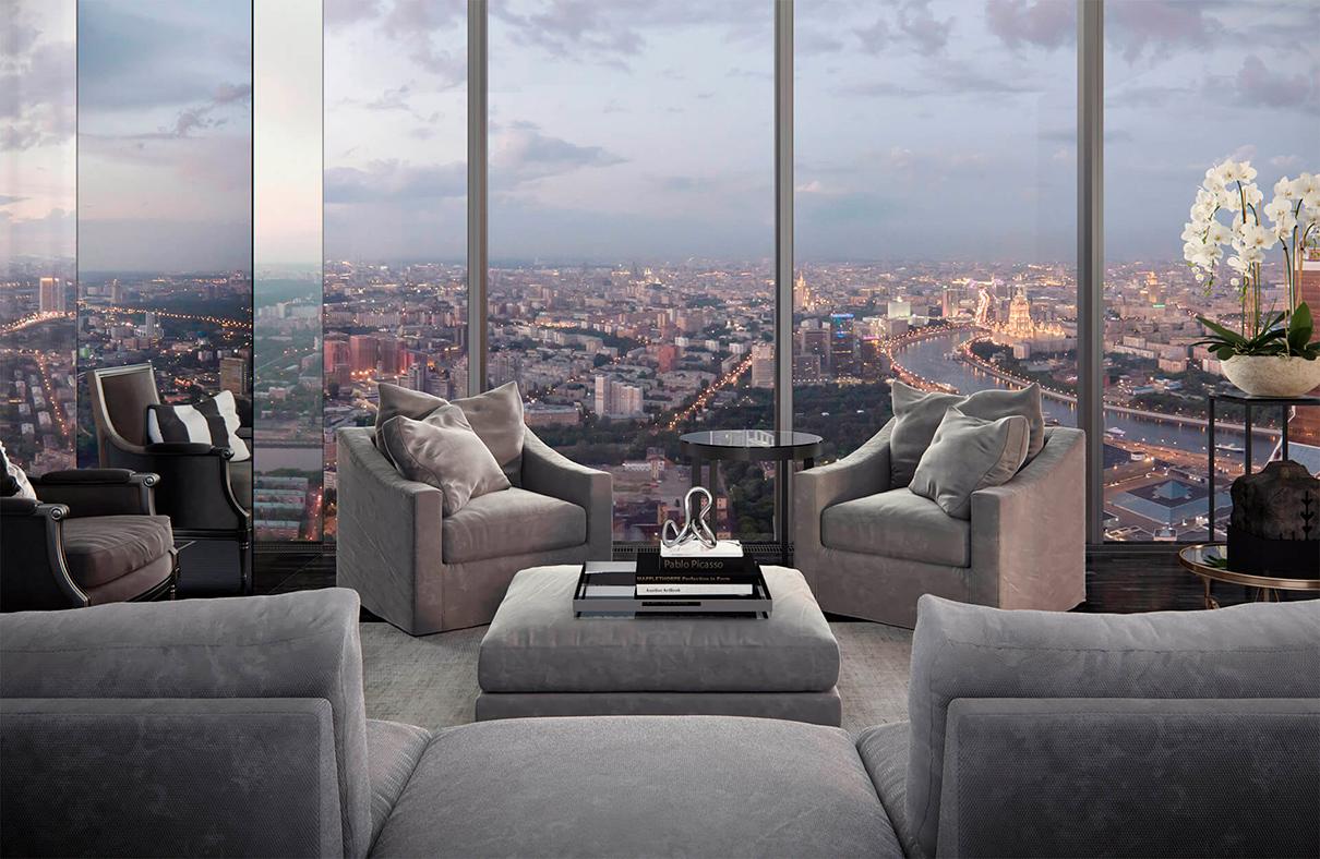 Neva Towers (Башня 2)  Этаж: 76-й Площадь: 238,1 кв. м Цена: 147,6 млн руб. ($2,4 млн)