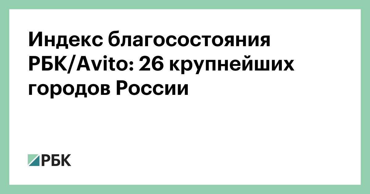 Индекс благосостояния РБК/Avito: 26 крупнейших городов России