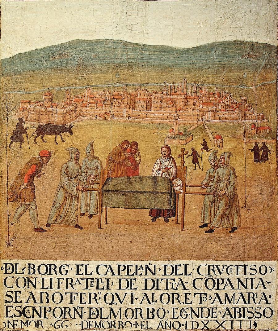 «Паломничество Компании распятия в Лорето по случаю чумы 1523 года». Джованни дель Леоне, первая половина XVI века