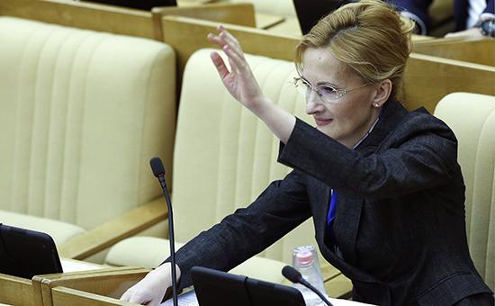 Депутат ГД РФ Ирина Яровая во время выступления на пленарном заседании Госдумы РФ.