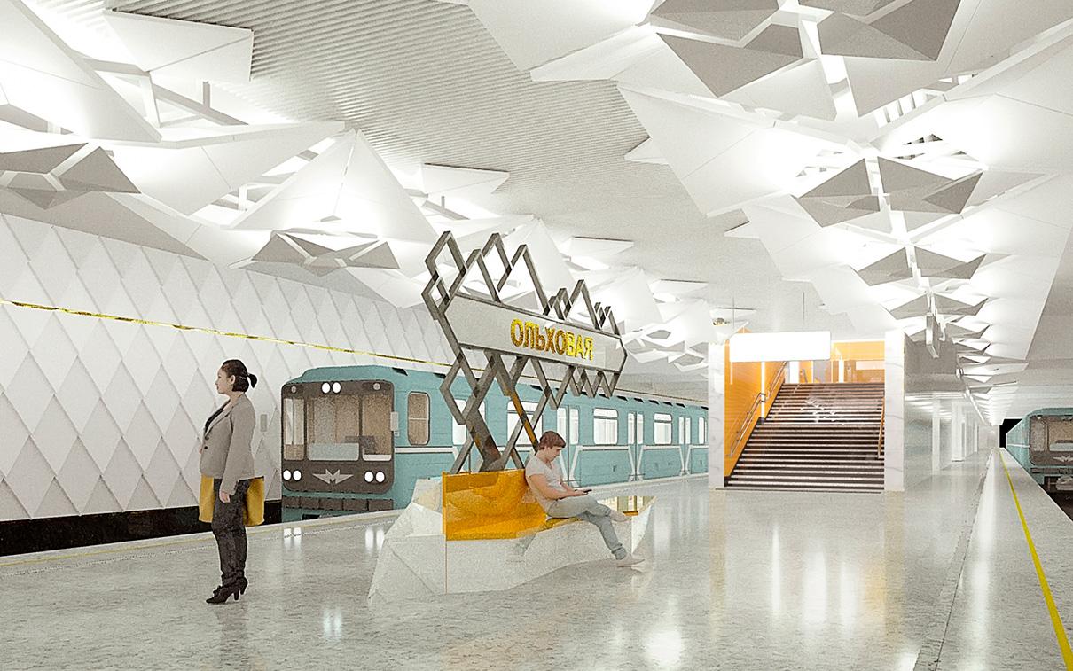 В отличие от станций «Филатов луг» и «Прокшино», «Ольховая» строится под землей. Она расположится в центральной части административно-делового центра «Коммунарка». Вестибюли станции будут выполнены в белых тонах с желтыми геометрическими элементами