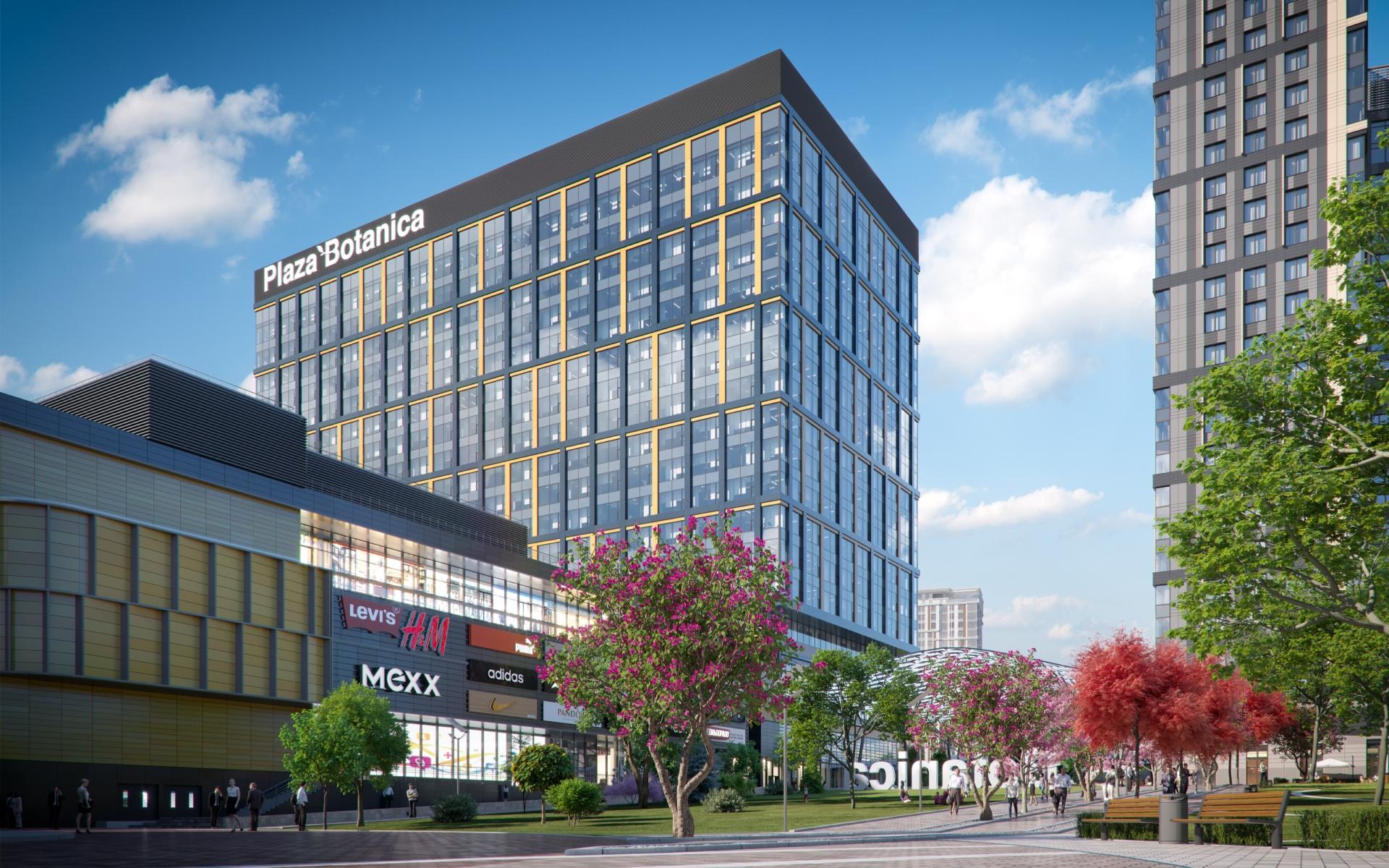 Вид на торгово-офисный центр Plaza Botanica