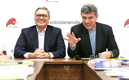 Сопредседатели партии РПР-ПАРНАС Михаил Касьянов и Борис Немцов (слева направо)