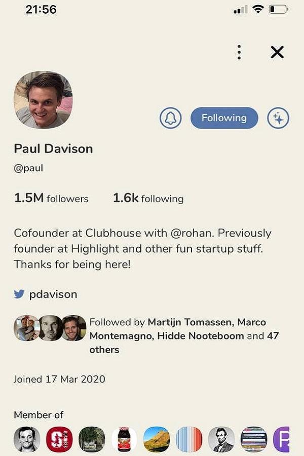Скриншот приложения Clubhouse