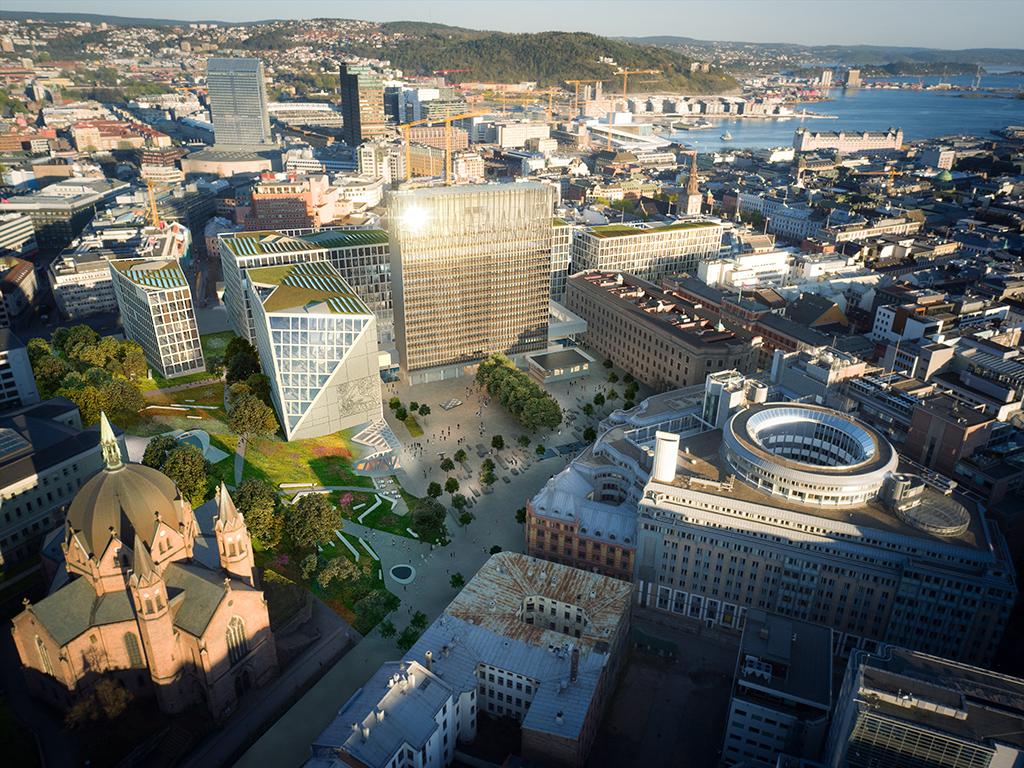 Центральная площадь правительственного квартала в Осло
