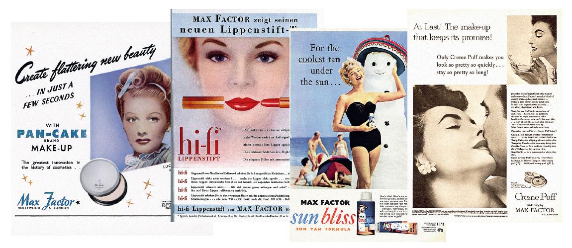 Благодаря рекламным плакатам с изображениями голливудских актрис косметика Max Factor приобрела широкую популярность в США и за рубежом