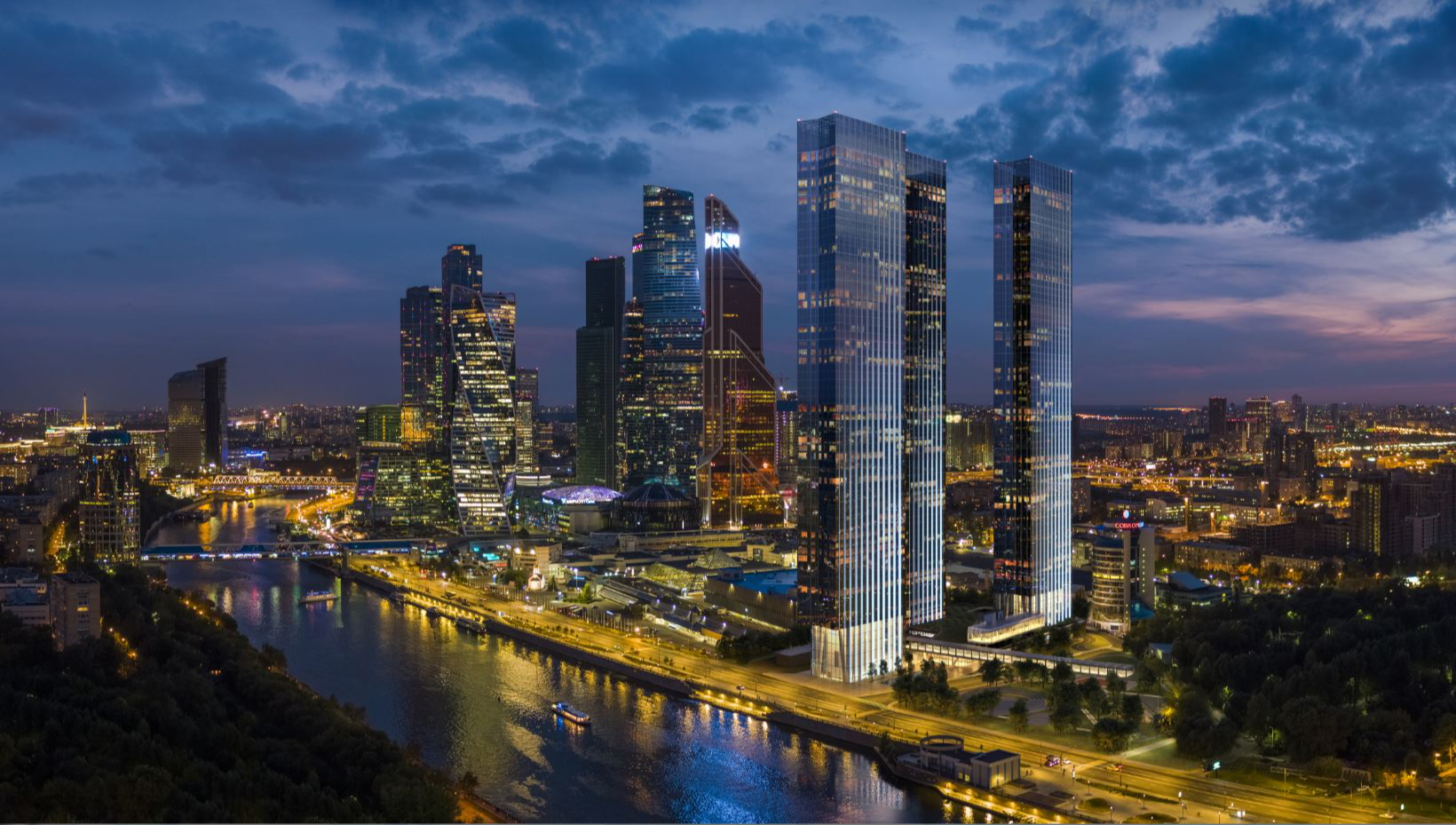 Проектный вид Capital Towers на фоне «Москва-Сити»