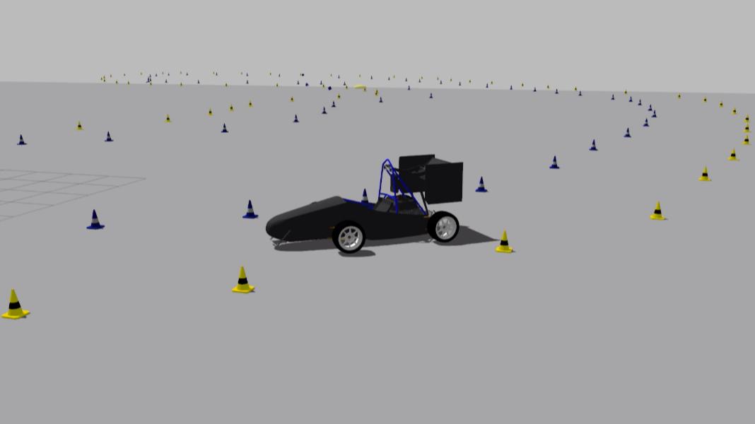 Проезд круга электроболидом BRT8D внутри симуляции
