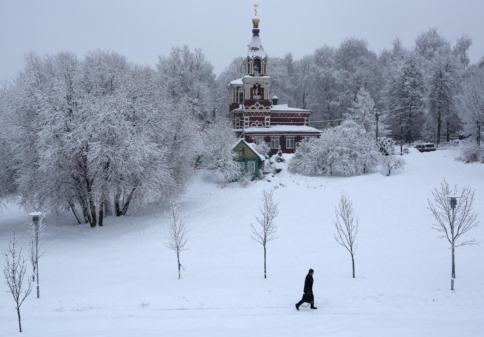 Во время снегопада в районе Северное Бутово