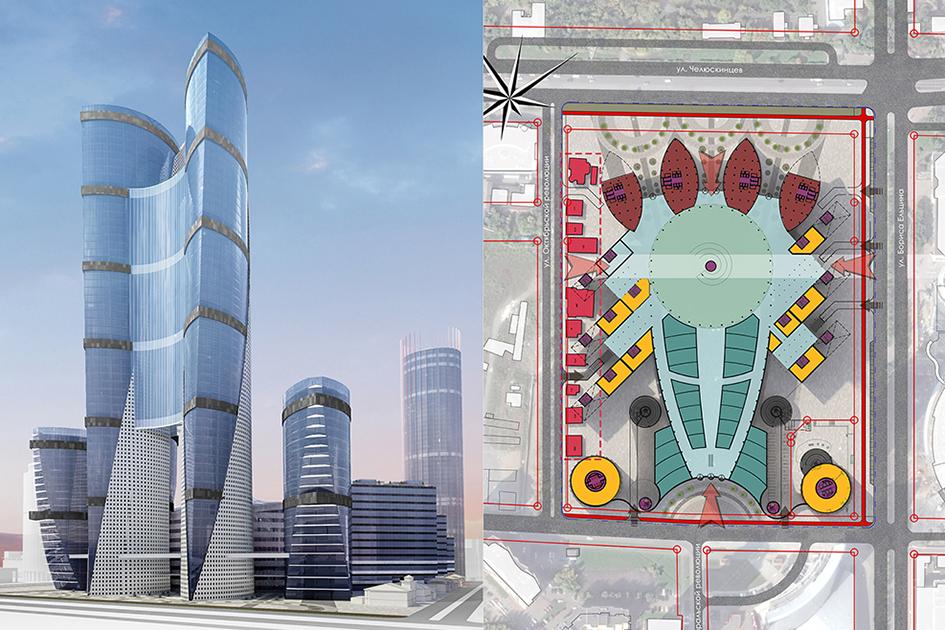 Сиамские близнецы  Два самых высоких небоскреба соединили поцентру, из-зачего башни стали напоминать сросшихся грудью сиамских близнецов
