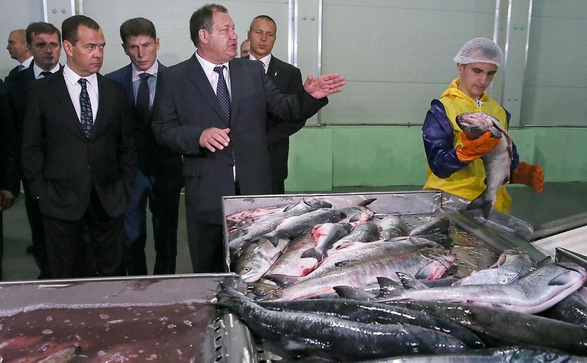 Дмитрий Медведев и губернатор Сахалинской области Олег Кожемяко (слева направо на первом плане)