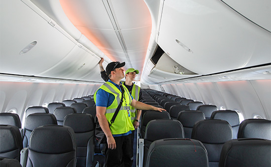 Салон самолета авиакомпании «Победа»
