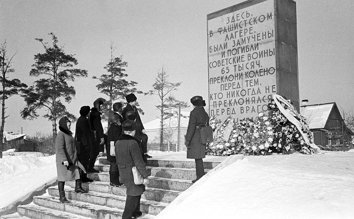 Обелиск в пригороде Пскова, на месте, где находился фашистский концлагерь для советских военнопленных
