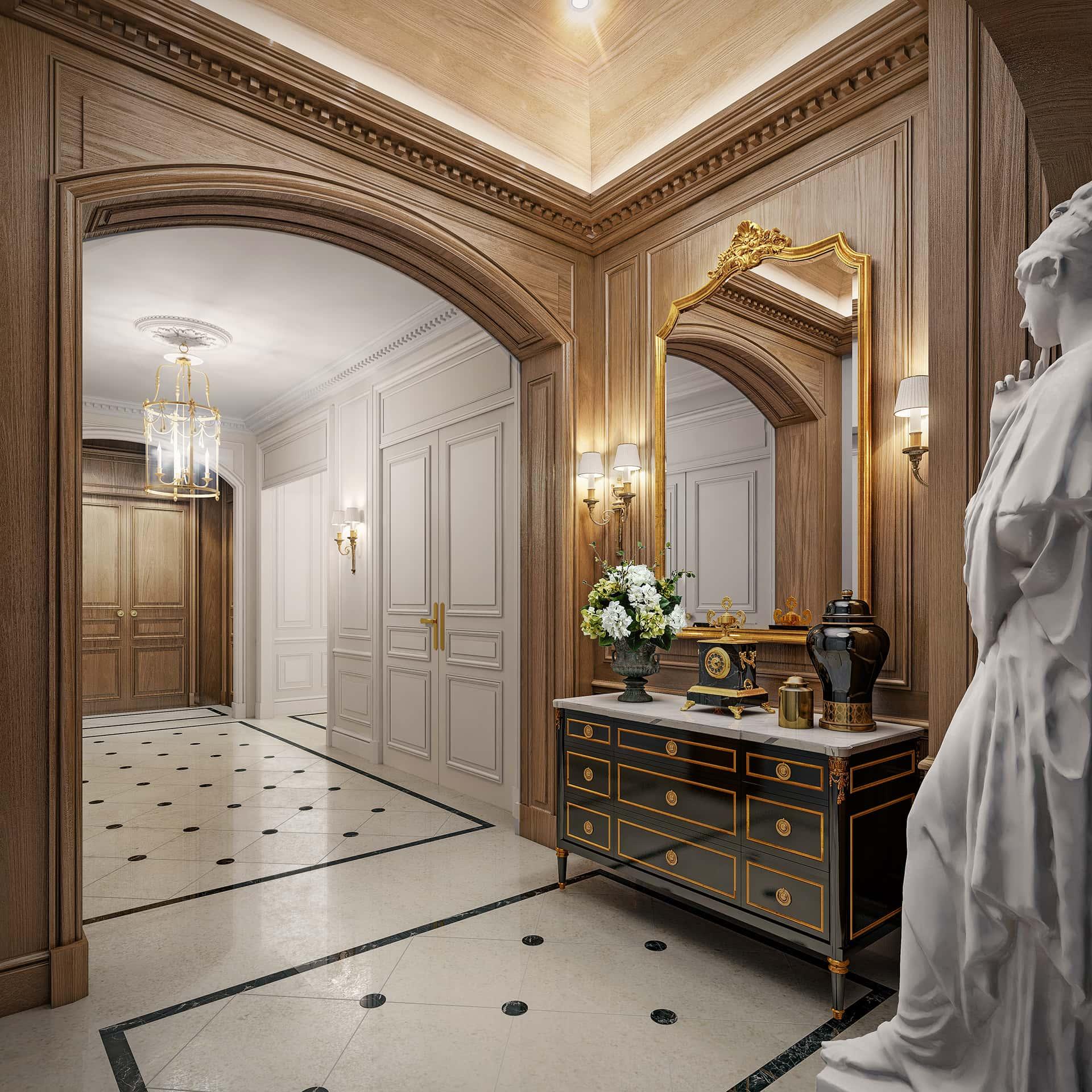 «Классический»  Холл сочетает в себе решительные линии и основательные мраморные элементы