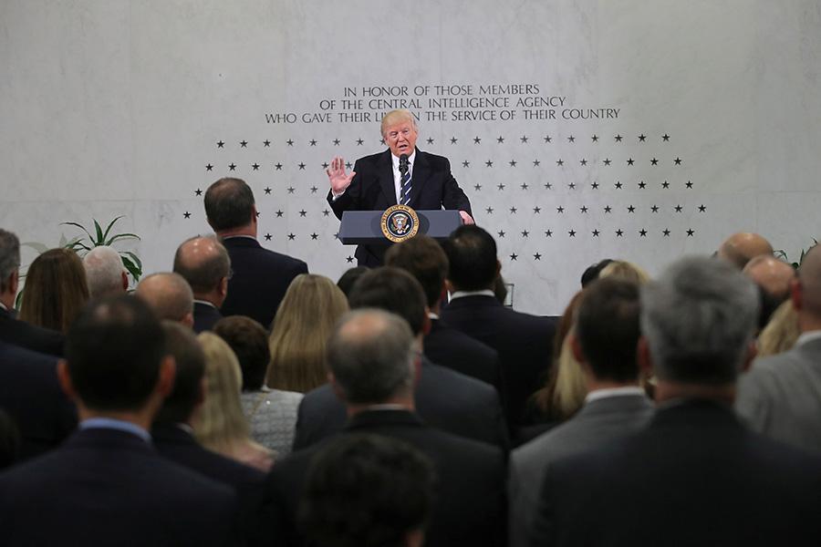 Дональд Трамп во время выступления в штаб-квартире ЦРУ. 21 января 2017 года