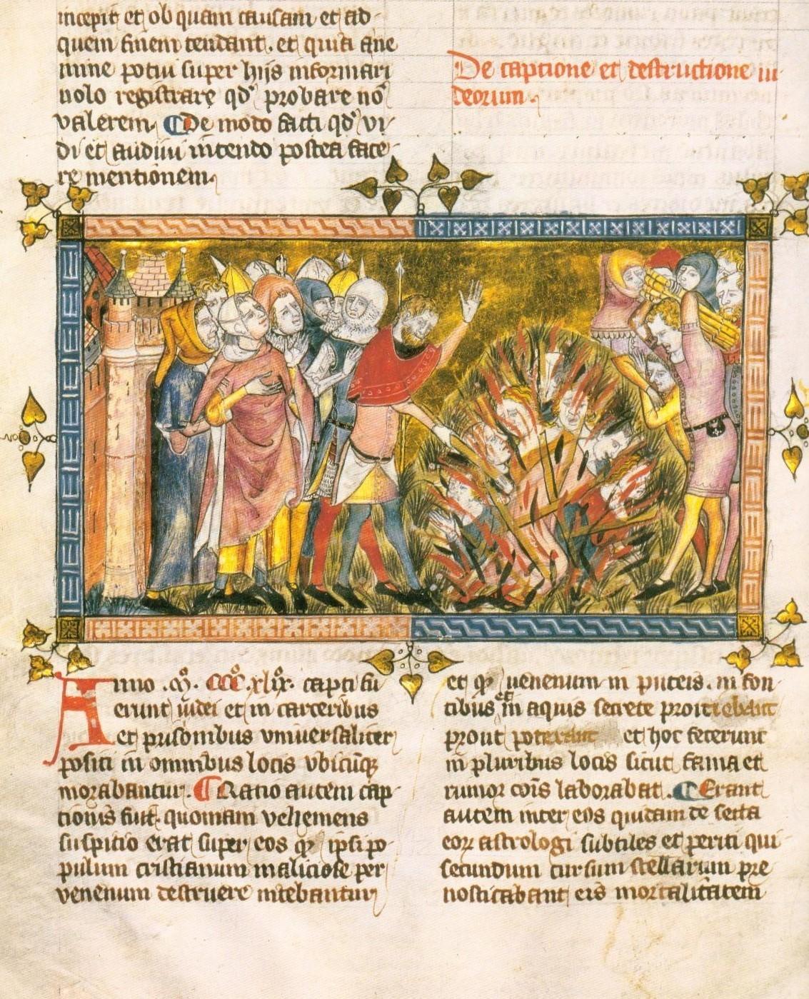 Страница с описанием казни евреев из хроники Жиляли Муасиса, ок. 1350 года