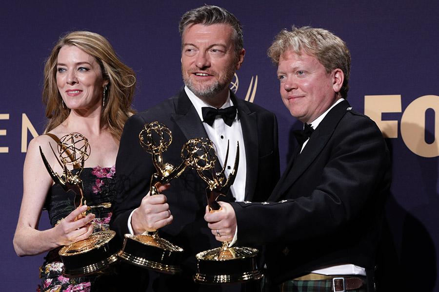 Слева направо: продюсеры «Черного зеркала» Аннабель Джонс, Чарли Брукер и Рассел МакЛин