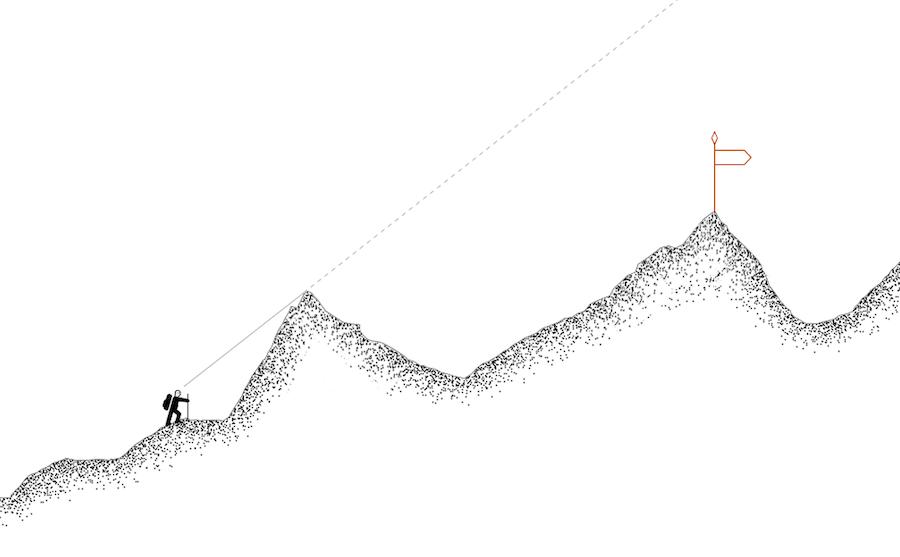 Согласно концепции, специалист, который поддается иллюзии альпиниста, прекращает расти. Он не узнает, что его ждет дальше