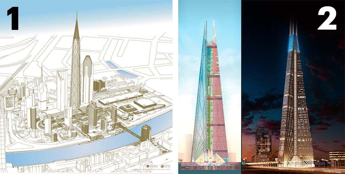 Башня «Россия». 1 — проект Бориса Тхора; 2— проект Нормана Фостера