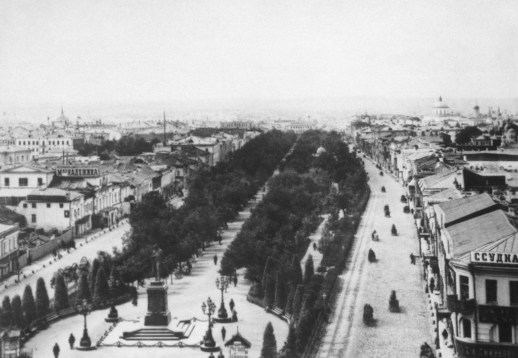 Вид на Тверской бульвар и памятник А.С.Пушкину, конец XIX века