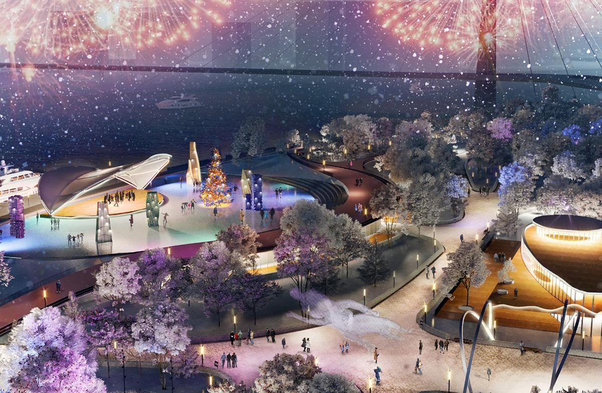 Поэтому архитекторы при разработке проекта вдохновлялись образами и мотивами из творчества художника Марка Шагала