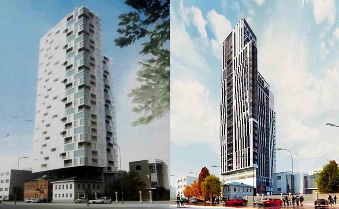 Эскизы отеля (2015г) и жилого комплекса Domina Yekaterinburg (2017г)