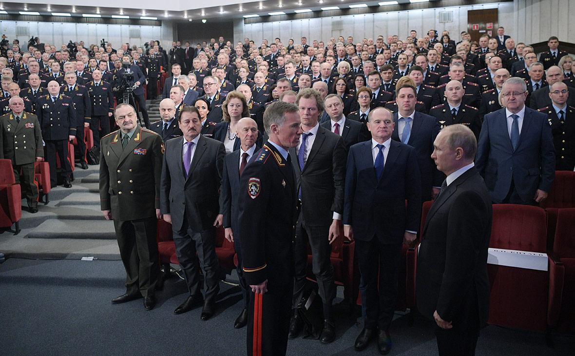 Владимир Путин на ежегодном расширенном заседании коллегии МВД