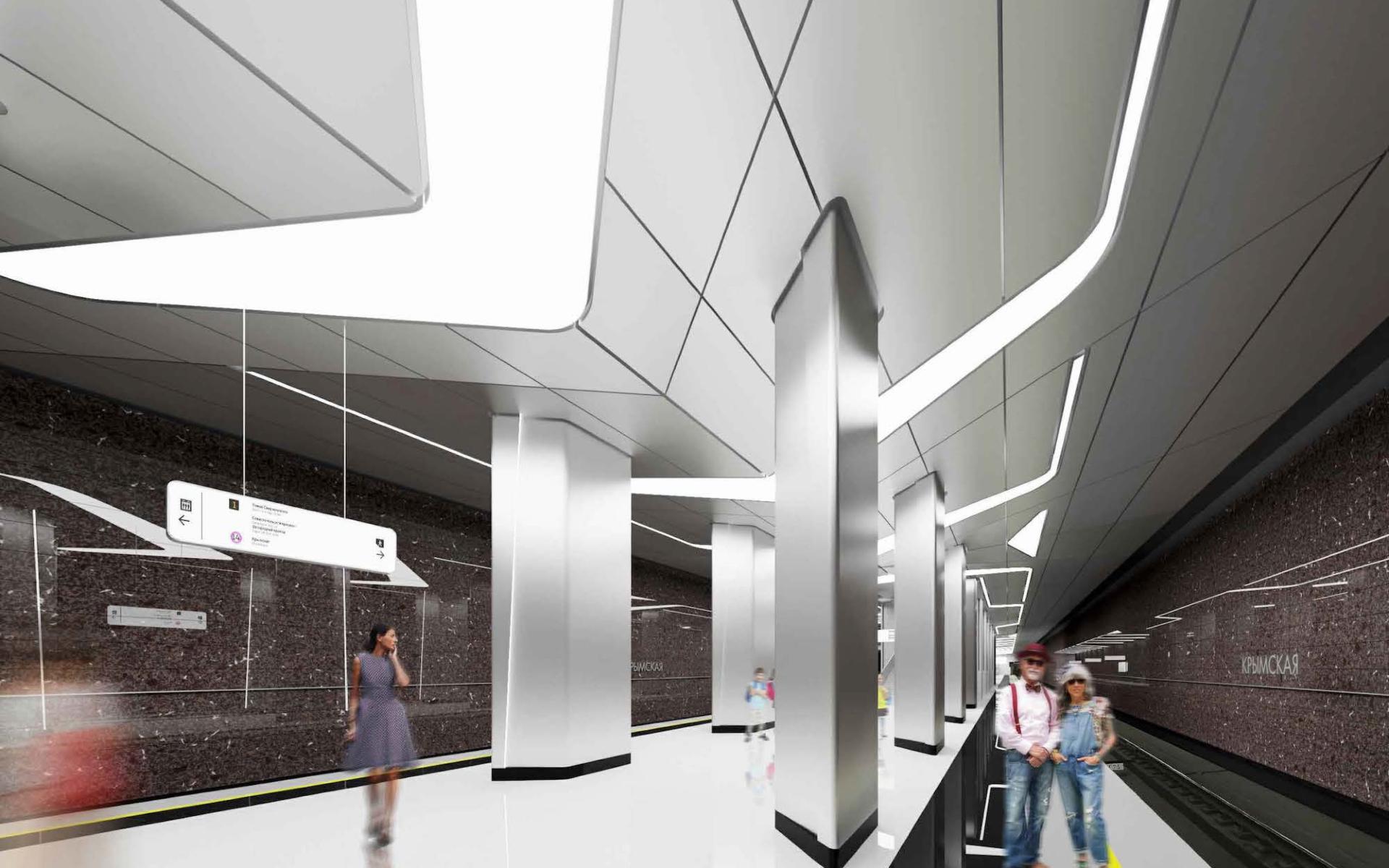 В оформлении станции «Крымская» преобладают стальные цвета