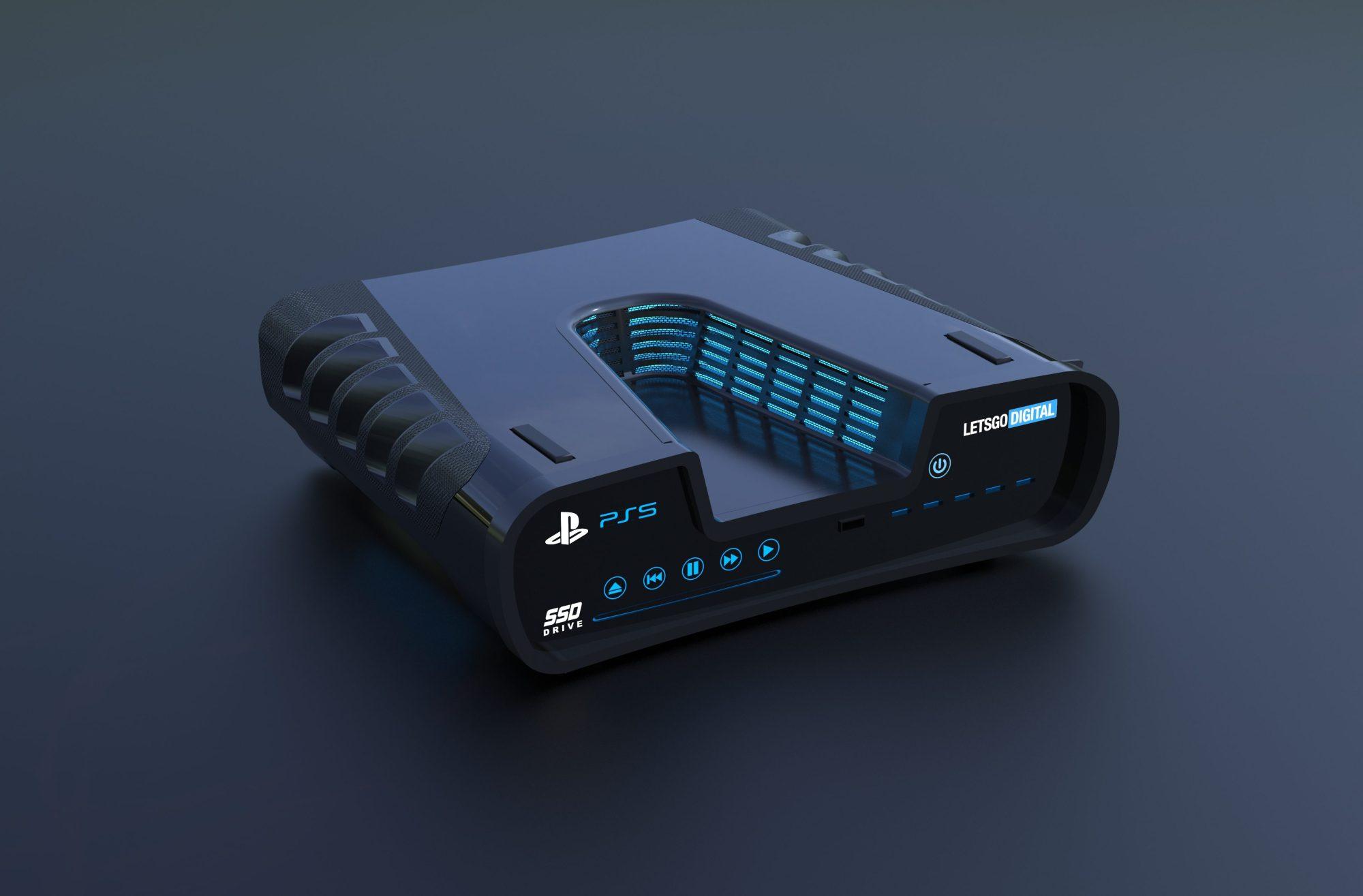3D-рендер вероятного дизайна PS5, который в 2019 году подготовила редакция сайта LetsGoDigital на основе патентной заявки Sony. Впоследствии выяснилось, что это— дизайн консоли разработчика (development kit) для PS5