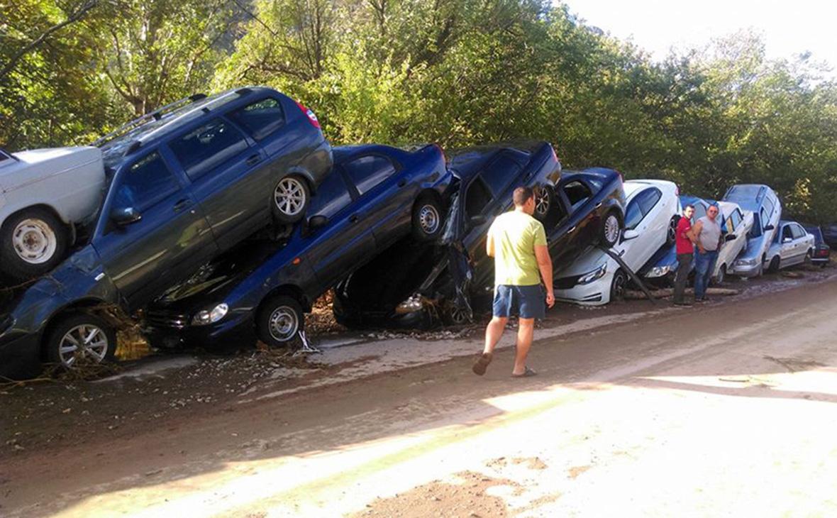 Последствия схода селевого потока под Судаком в Крыму