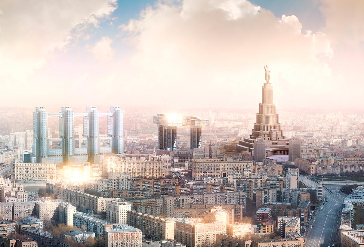 Горизонтальный небоскреб Лисицкого (в центре)