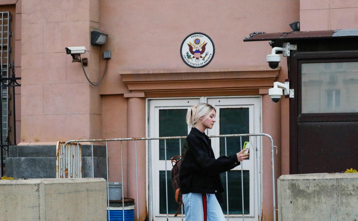 Вид на посольство США в Москве