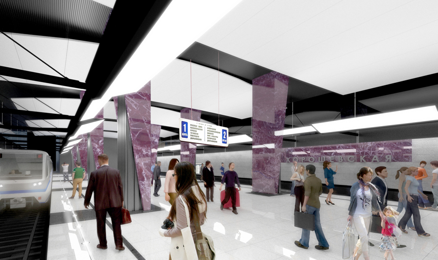Белый светоотражающий подвесной потолок должен визуально увеличить пространство станции
