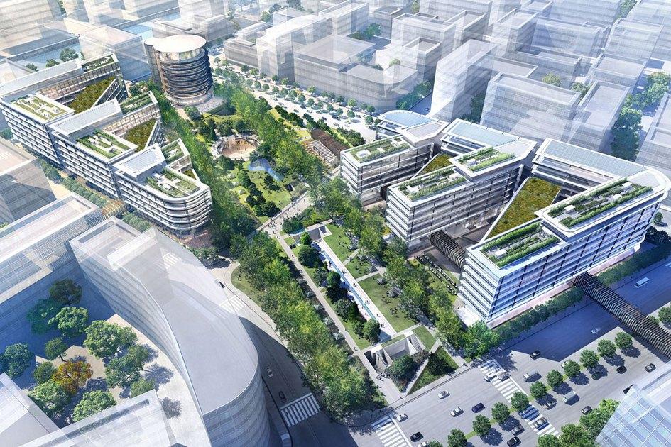 Шанхай, Китай  Деловой район Хунцяо—одна изглавных строек Шанхая, крупнейшего города вКитае. На территории в86кв. км должны появиться сотни зданий, вкоторых расположатся офисы, жилье ипроизводственные площадки. Архитектурное бюро Foster + Partners создало мастер-план центрального квартала Хунцяо