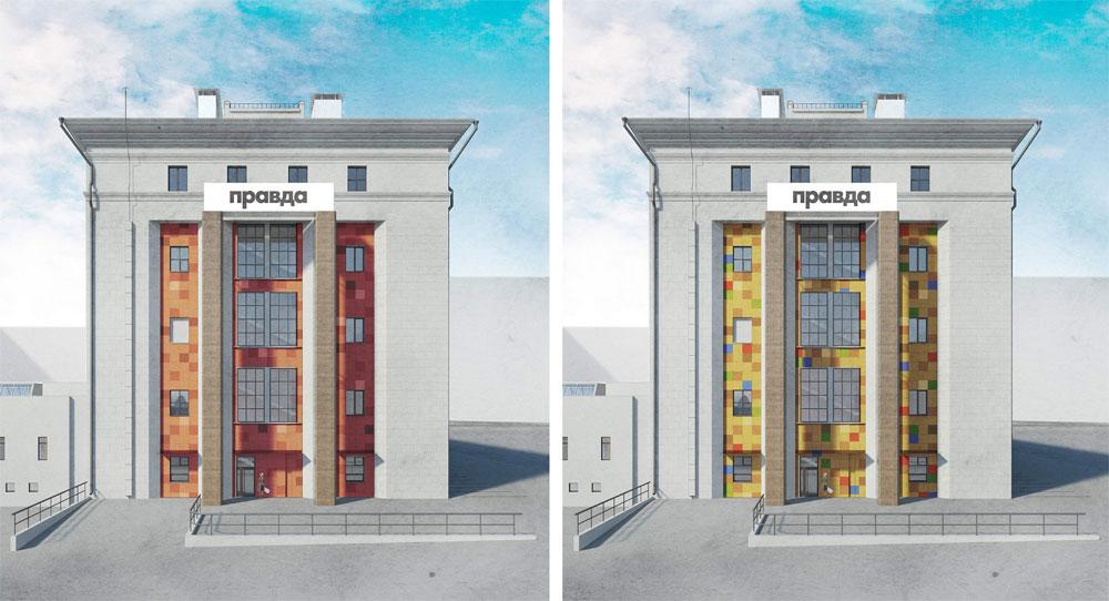 В интерьерах строения 2 архитекторы нетолькосохраняют фрагменты исходных отделочных материалов, нотакже инекоторые характерные элементы оборудования иинженерного обеспечения