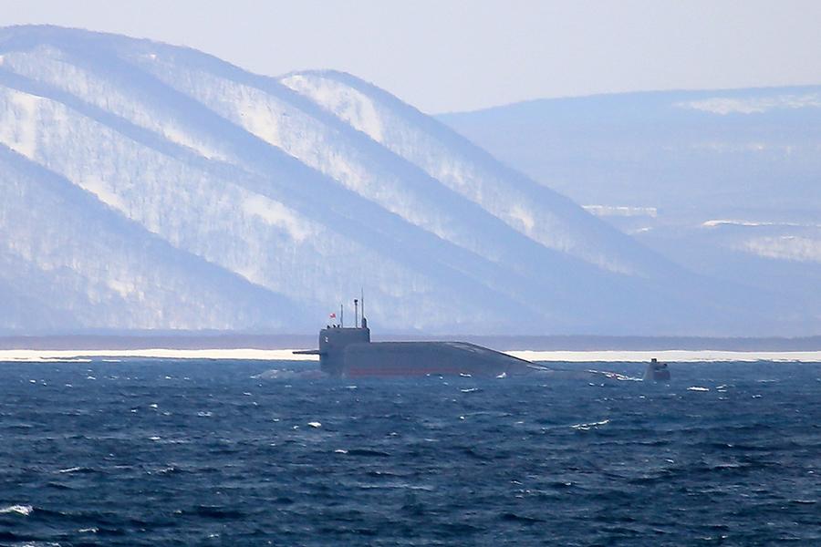 РПКСН «Подольск» у берегов Камчатки. 28 марта 2015 года