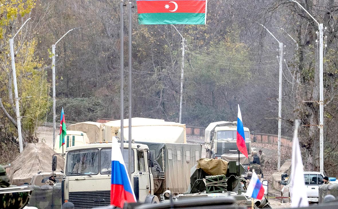 Пост российских миротворцев и азербайджанских военнослужащих в Нагорном Карабахе