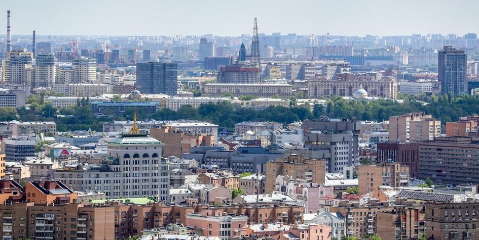 Вид на жилые дома района Хамовники и Шуховскую башню