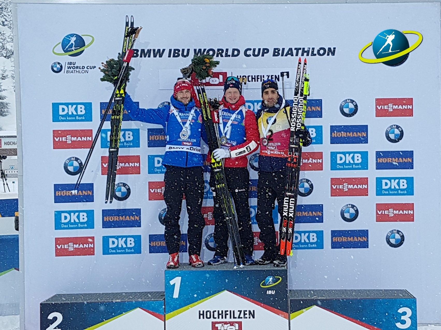 Призеры гонки преследования Яков Фак, Йоханнес Бе и Мартен Фуркад (слева направо)