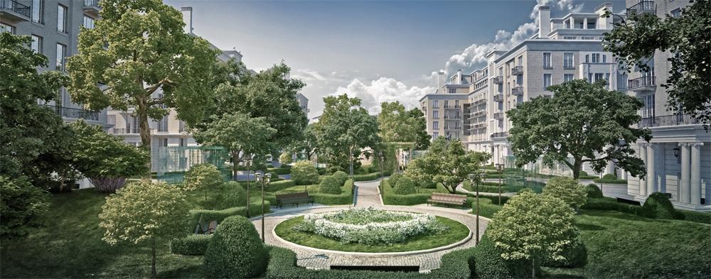 В парке Knightsbridge Private Park будут красивые дорожки, сезонные цветы, кустарники и деревья-крупномеры
