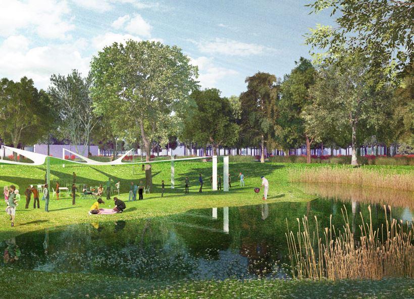 В Семейном парке оборудуют места для пикников и барбекю, зону для занятия спортом и прогулочные дорожки