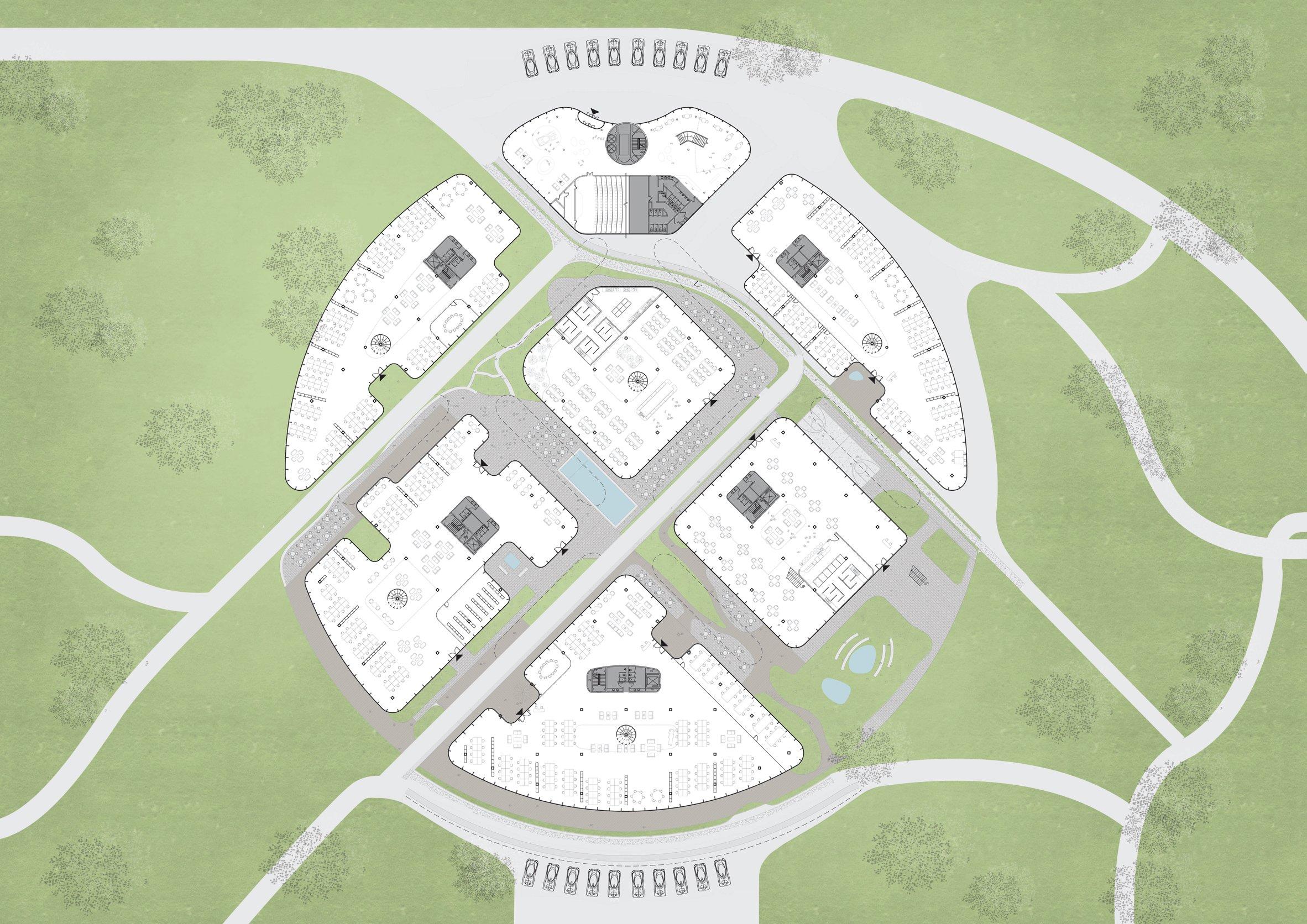 Кампус спроектирован в форме круга, разбитого на сектора. Площадь территории — около 130 тыс. кв. м, площадь зданий — 20 тыс. кв. м
