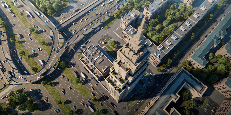 Архитектура Alcon Tower— классические формы, устремленные ввысь