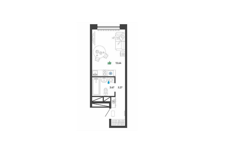 Студия площадью 22,5 кв. м в апарт-комплексе «Донской квартал»