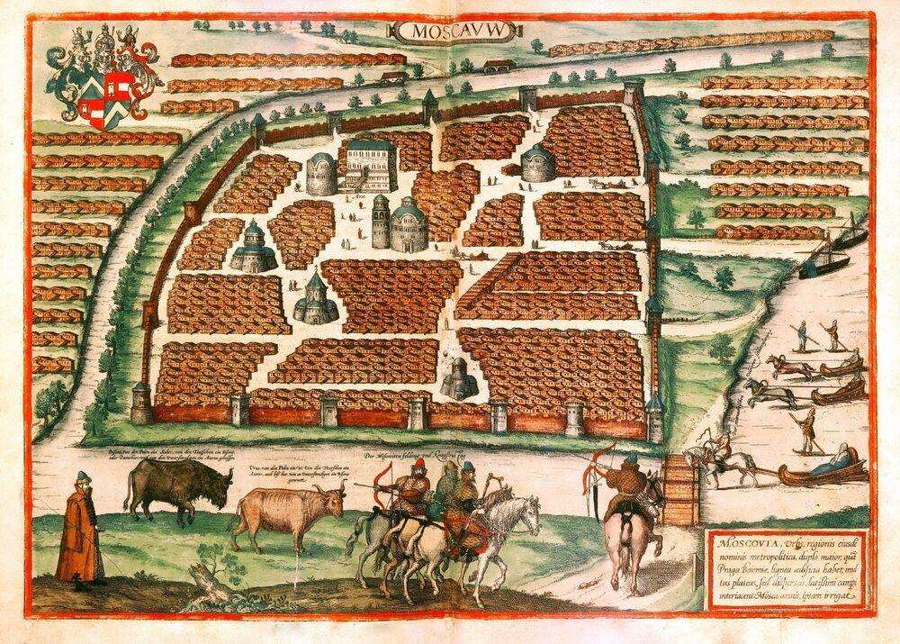 Карта Москвы, составленная Сигизмундом Герберштейном, 1556 год