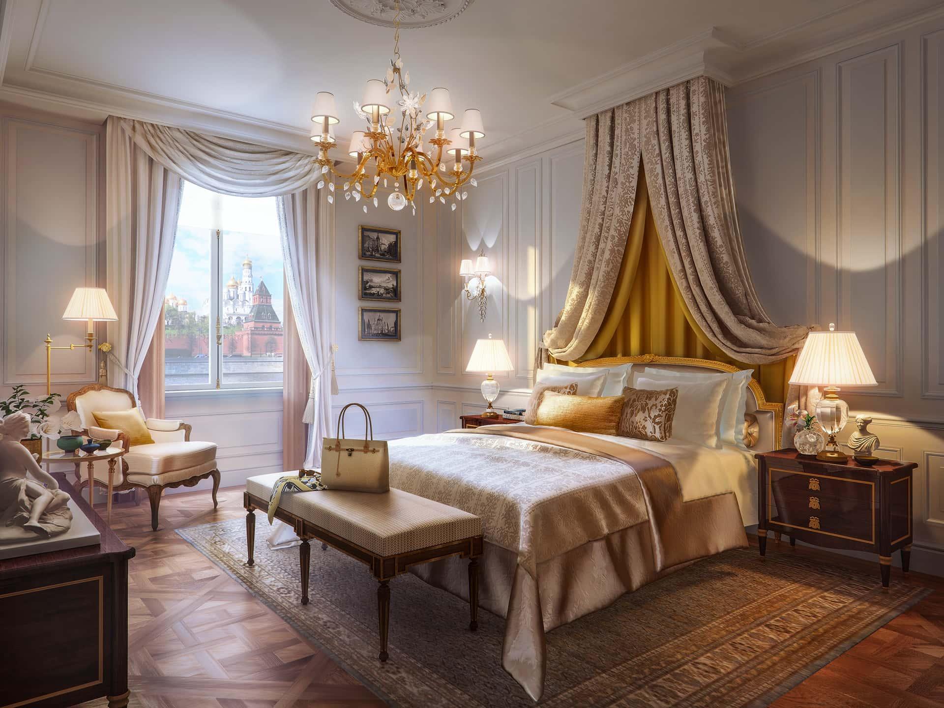«Классический»  Интерьер спальни наполнен теплыми тонами и мягкими тканями